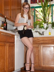 Hot blonde teen alina takes off her clothes to show off her nice forms