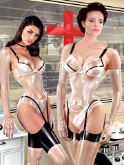 3d latex dressed girls going wild while getting dominated in bondage.