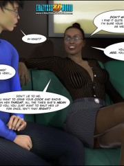 Dude in a blue shirt and glasses from 3d porn comix gets horny watching cool ebony slut