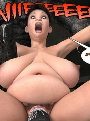 Huge monsters with enormous dick fucking badly naked fat chick in the basement