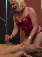 Blond in sexy pink-rose langerie doing body massage and great cocksucking job