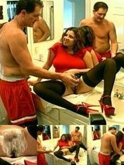 Curly chick with big juggs in red t-shirt allows to shave her shaggy snatch