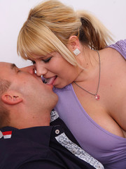 Lucky guy sucks big tits before fat babe sucks his cock and he bangs her real hard