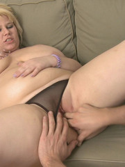 Fat blonde chick is crazy for hard cock and sucks it before getting banged to cum