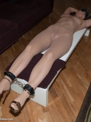 Sweet blonde roped, clipped and enslaved to suck cock and get vibrated and banged