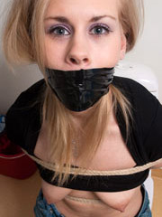 Blonde with seductive curves and body gets tied and chained hand behind back