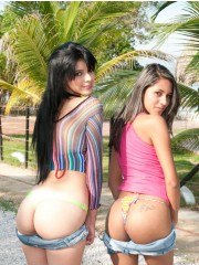 Two young babes get their wet pussies banged poolside.
