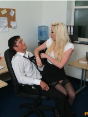 Kinky women played an office man for a hand and blowjob
