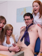 Four naughty college ladies handjob their professor's dick