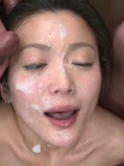 Lovely lady delights in the pleasures of a hot sperm shower.