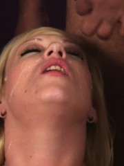 Slutty blonde wanks and sucks several cocks until they spill hot cum on her face