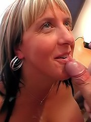 Blonde bitch with big tits and mouth covered with sticky jizz
