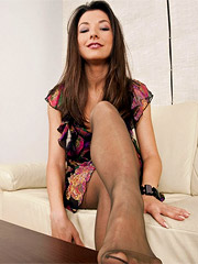 Adore her black stockings and nylon sex feet that all guys are demented about!