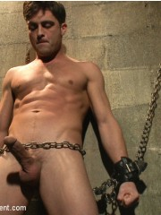 This guy enjoys getting cuffed while getting leashed and penetrated.