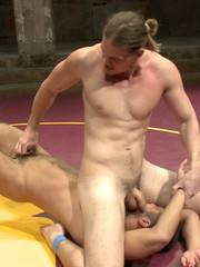 Sexy battle as two male studs fight and end up sucking dick and banging ass
