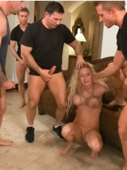 Blonde milf hogtied and humiliated before group fucking