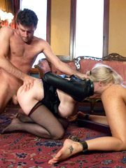 Two delicious enslaved chicks forced to lick each other while being banged by master.