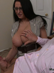 Bella gets a massive load spurted all over her huge tits!