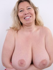 Horny and slutty blonde mama with super big tits show pussy, ass and big tits