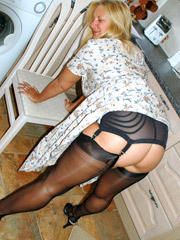 Mature blonde chock in awesome black stockings and no panties sucking and fucking hard cock.