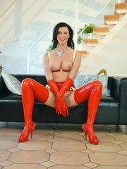 Horny mom in red latex suit gets her hairy snatch pounded hard