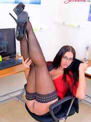 Big boobed office beauty in exclusive stay ups willinly showing her shaved pussy.