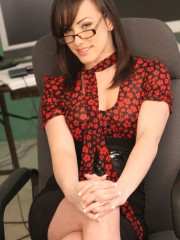 Brunette secretary jennifer white gets drilled at work