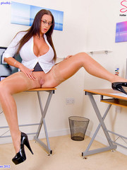 Big boobied secretary in skin tone stockings willingly spreads and exposing her wet twat.