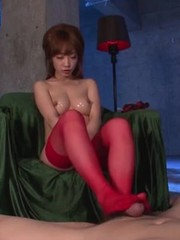 Asian japanese stocking footjob