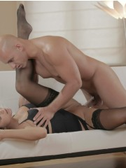 Bald dude fucking gianna in black lace stockings