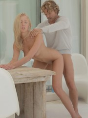 Lustful russian girl gets it from behind at the table