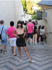 Magnificent brunette with lusciousness small tits exposing herself in public.
