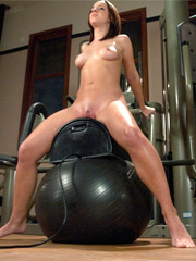 Brunette bitch getting high on a sling-sybian