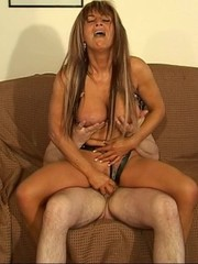 Big-titted mature in sexy fancy suit having fun with her old hubby