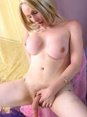 Lusty blonde babe gets her tight holes pleased by skinny ladyboy in stockings. tags: anal, blowjob, hardcore, shemale.