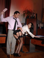 Teacher spanking his babe to asses