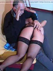 Pretty blonde lady in stockings is taken otk for a sound spanking