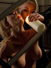 Two smoking hot blonde lesbians engage in hot lesbian punishment, bdsm and strap-on anal sex!