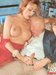Horny old grandpa fucking a willing sexy shemale hardcore