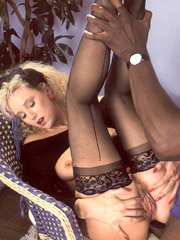 Horny retro black guy fucks very hot willing blonde chick