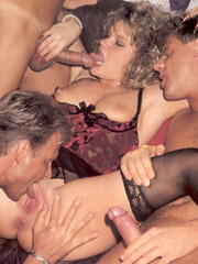 Retro cutie banged by three horny guys hardcore indoors